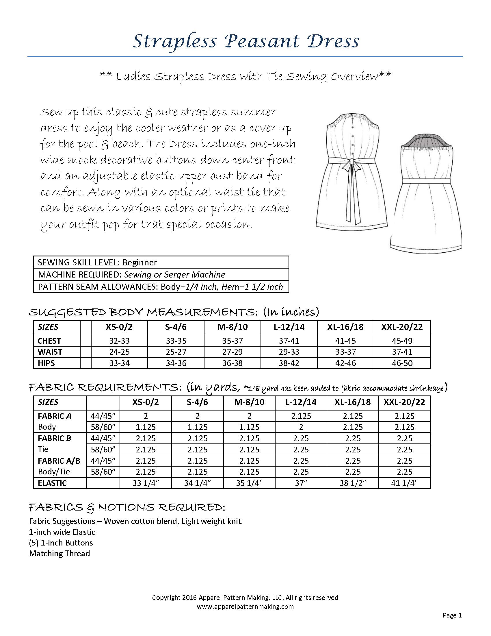Ladies strapless peasant dress sewing pattern apparel pattern ladies strapless peasant dress sewing pattern jeuxipadfo Image collections